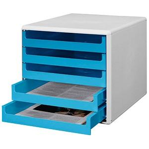 Schubladenbox blau mit 5 Schubladen