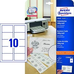250 AVERY Zweckform Visitenkarten C32020-25 grau