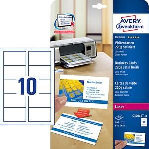 100 AVERY Zweckform Visitenkarten C32016-10 weiß