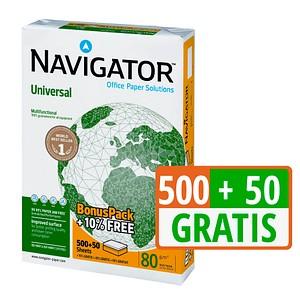 500+50 GRATIS: NAVIGATOR Kopierpapier Universal A4 80 g/qm
