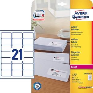 840 AVERY Zweckform Adressetiketten L7160-40 weiß
