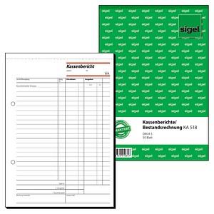 sigel Formularbuch KA518 Kassenbericht/Bestandsrechnung
