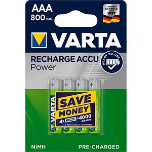 4 VARTA Akkus RECHARGE ACCU Power Micro AAA 800 mAh