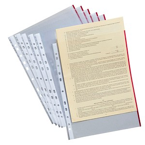 50 Prospekthüllen rot-transparent glatt