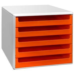 Schubladenbox orange mit 5 Schubladen