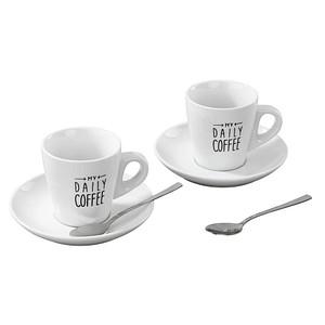 rastal Kaffeetassen-Set MY DAILY COFFEE weiß 2 Kaffeetassen mit Untertassen und 2 Löffel