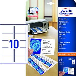 100 AVERY Zweckform Visitenkarten C32010-10 weiß