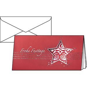 10 sigel Weihnachtskarten Red Star