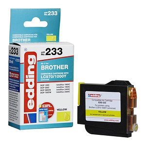 edding EDD-233 gelb Tintenpatrone ersetzt brother LC-970/1000Y